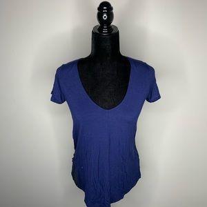 Vince Essential V-Neck Blue Short Sleeve Shirt XS